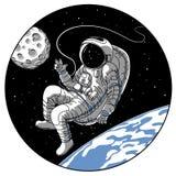 Astronaut or cosmonaut in open space vector sketch illustration. Astronaut or cosmonaut in open space vector illustration. Sketch retro design of astronaut in