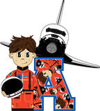 A is for Astronaut. Cute Cartoon Astronaut Alphabet Learning Illustration. An EPS file is also available stock illustration