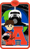 A is for Astronaut. Cute Cartoon Astronaut Alphabet Learning Illustration. An EPS file is also available vector illustration