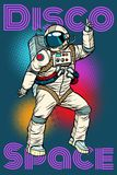 Astronaut dancing disco funny. Pop art retro comic book vector cartoon hand drawn illustration Stock Photo