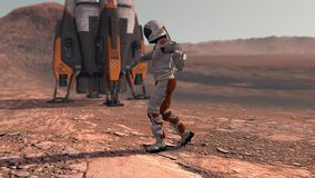 Astronaut dancing on Mars red planet. Exploring Mission To Mars. Futuristic Colonization and Space Exploration Concept. Colony on