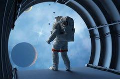 Astronaut in de tunnels Stock Afbeeldingen