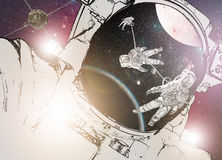 Astronaut in deep space and a space station. With Moon and Earth Stock Images