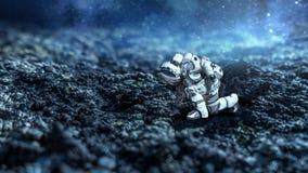 Astronaut, der beginnt zu laufen Gemischte Medien Stockbilder