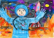 Astronaut, der den roten Planeten, Raumkonzept, Kinderzeichnung auf Papier erforscht Lizenzfreie Stockfotografie