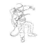 Astronaut, der in Raum, Entwurf schwimmt Stockbild