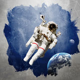 Astronaut in der Weltraummodernen kunst lizenzfreie stockbilder