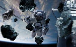 Astronaut die aan een ruimtestation 3D teruggevende elementen werken van Th Royalty-vrije Stock Afbeelding
