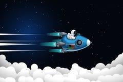 Astronaut die boven wolken vliegen vector illustratie