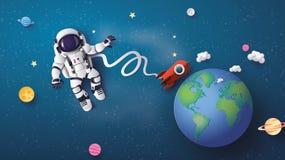 Astronaut die in de stratosfeer drijven stock illustratie