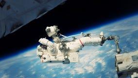 Astronaut die in diepe ruimte werken stock illustratie
