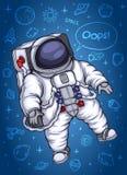 Astronaut die in gewichtloosheid drijven Stock Afbeeldingen