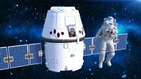 Astronaut die met satelliet de lucht, kosmonaut in spacesuit controleren die in ruimte met ruimtevaartuig op de 3D achtergrond dr Stock Illustratie