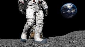 Astronaut die op de maan loopt CG-animatie stock illustratie