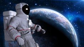 Astronaut die in ruimte boven planeet, kosmonaut met Aardebol de drijven op de 3D achtergrond, geeft terug Stock Illustratie