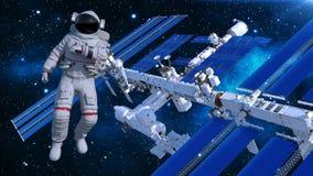Astronaut die in ruimte boven ruimtestation, kosmonaut met ruimtevaartuig op de 3D achtergrond de drijven, geeft terug Vector Illustratie