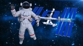 Astronaut die in ruimte boven ruimtestation, kosmonaut met ruimtevaartuig op de 3D achtergrond de golven, geeft terug Stock Illustratie