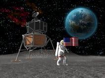 Astronaut die vlag op maan plant Royalty-vrije Stock Afbeeldingen