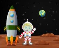 Astronaut die zich op planeetillustratie bevinden Royalty-vrije Stock Fotografie