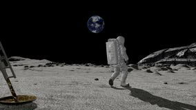 Astronaut discovers an alien ship on the moon. Conspiracy Theory Concept. Astronaut discovers an alien ship on the moon. Concept of lunar conspiracy theory stock video footage
