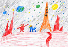 Astronaut and dog exploring the red planet, space concept, child drawing on paper Royalty Free Stock Images