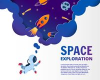 Start up business concept and exploration idea, vector art and i. Astronaut dreaming about space. Paper cut style of vector illustration. Planets, rockets vector illustration
