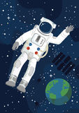 Astronaut with Earth. Astronaut flying in the Space, vector royalty free illustration