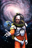 Astronaut earth and galaxy. 3D render science fiction illustration Royalty Free Stock Photography
