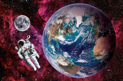 Astronaut Earth Moon Space Stock Photo