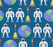 Astronaut and Earth seamless ornament. Vector background space. Stock Images