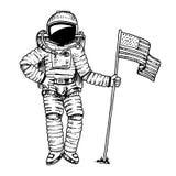 Astronaut eller astronaut som skjuta i höjden med USA flaggan affärsföretag i det astronomiska galaxutrymmet kosmonautet undersök royaltyfri illustrationer