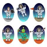 Astronaut Emotions Set stock illustrationer