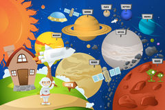Astronaut en planeetsysteem stock illustratie