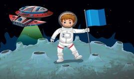 Astronaut en ruimteschip op de maan Stock Afbeelding