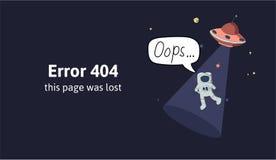 Astronaut en UFO in kosmische ruimte Het bericht van de tekstwaarschuwing deze pagina was verloren Oops 404 foutenpagina, vector royalty-vrije illustratie
