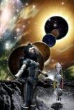 Astronaut en vreemde planeet stock illustratie