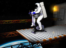Astronaut on exercise bicycle Royalty Free Stock Image