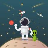 Astronaut Exploration i utrymmemötefrämling royaltyfri illustrationer