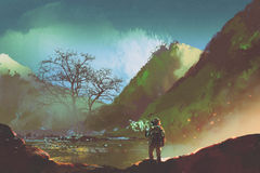 The astronaut exploring living things on the planet. Sci-fi concept of the astronaut exploring living things on the planet, illustration painting Stock Photos
