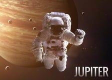 Astronaut exploring space in Jupiter orbit Stock Photos