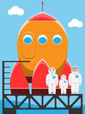 Astronaut family in spaceport Stock Images