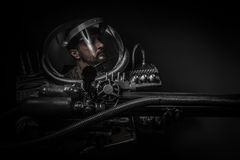 Astronaut, fantasy warrior with huge space weapon Stock Photography