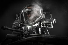 Astronaut, fantasy warrior with huge space weapon Stock Photo