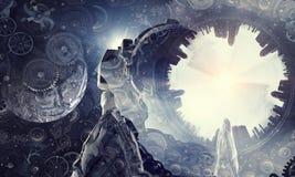 Astronaut in fantasy world. Mixed media Stock Photography