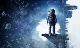 Astronaut in fantasy world. Mixed media Stock Images