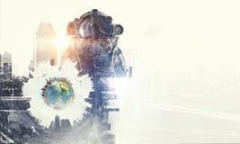 Astronaut in fantasy world. Mixed media Stock Photos