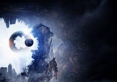 Astronaut in fantasy world. Mixed media Royalty Free Stock Photos
