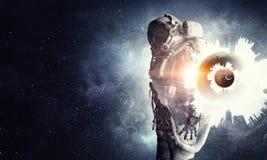 Astronaut in fantasy world. Mixed media Stock Photo