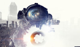 Astronaut in fantasy world. Mixed media Royalty Free Stock Images
