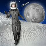 Astronaut fashion stand woman space suit helmet. Astronaut fashion woman full length space suit helmet moon metaphor Royalty Free Stock Image